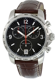 Certina DS Podium Chrono Sort/Læder Ø40 mm C001.417.16.057.00