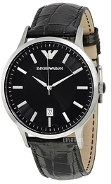 Emporio Armani Dress Sort/Læder Ø43 mm AR2411