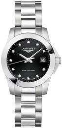 Longines Conquest Sort/Stål Ø30 mm L3.376.4.57.6