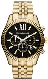 Michael Kors Lexington Sort/Gul guldtonet stål Ø45 mm MK8286