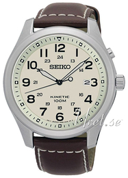 Seiko Kinetic Champagne/Læder Ø42 mm SKA723P1